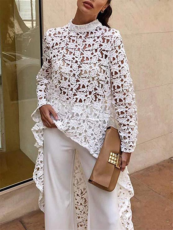 PRETTYGARDEN Womens Lantern Long Sleeve Round Neck High Low Asymmetrical Irregular Hem Casual Tops Blouse Shirt Dress