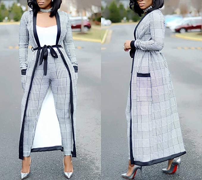 VERWIN Long Sleeve Plaid Tops and High Waist Skinny Pants Houndstooth Blazer Outfit 3 Sets